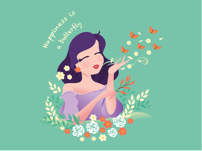 Happiness is a butterfly girl illustration quotes spring summer butterfly happiness girl illustration