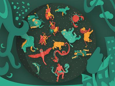 Space reverse space reverse stars constellation 2d flat world house tree animals men