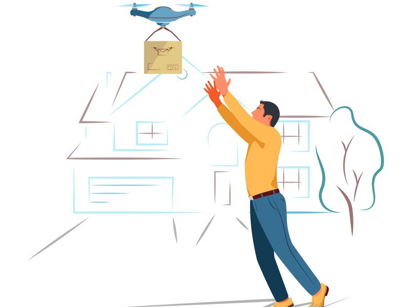 The drone delivers the order to the recipient. Delivery of the f graphic gps goods futuristic future freight fragile flying flat express drone vector drone delivery delivery deliver crate courier correspondence commerce cardboard artificial intelligence