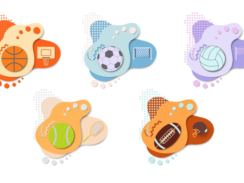 Set of tags with game balls of different types. exercising concepts bowling award aspirations playing competition sphere simplicity clip art label game baseball soccer football volleyball team tag ball basketball