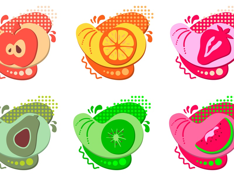 Set of stickers and badges of healthy and organic food. kiwi item image illustration idea icon set grocery graphic glossy fruits frame form flat drawing colourful bubble brochure avocado apple advertising