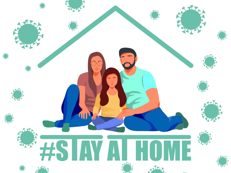 Stay home banner template. Family sitting home. kid information infection indoors illness help global funding flu father epidemic enjoying distance disease coronavirus corona cooperation campaign awareness attention