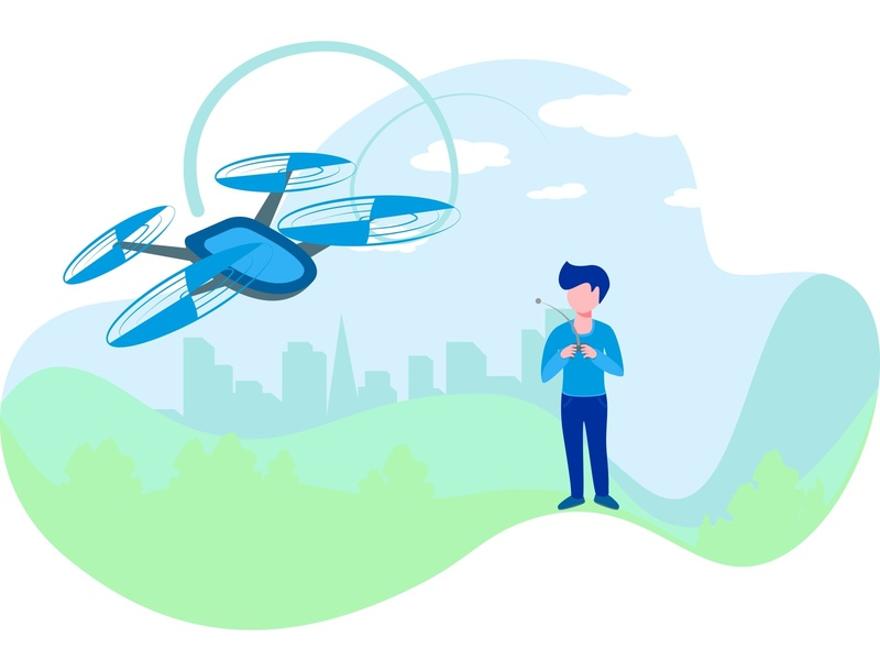 Flat Boy Playing With Flying Drone In The Park. fly flight flat equipment electronic drone digital control concept child character cartoon camera boy blue art airplane aircraft air aerial