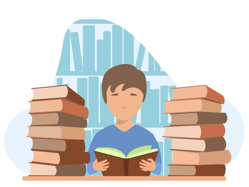 Young boy reading book. A young boy in front of the bookshelves isolated imagination illustration examine education drawing cute child character cartoon boy bookstore bookshelf bookcase book cover book bible art alphabet abc