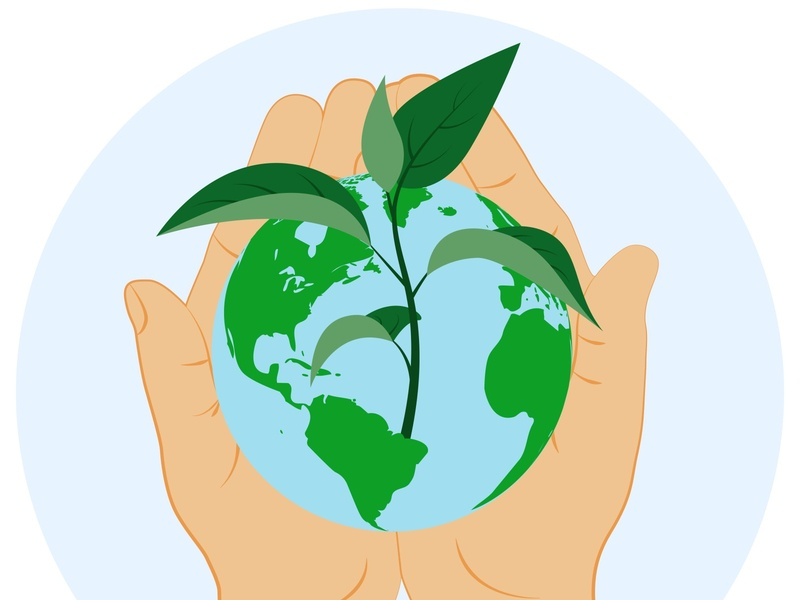Hands holding planet earth. World Environment Day. flat environmental environment energy ecology eco earth day conservation concept clouds clean celebration care card bio banner background atmosphere air