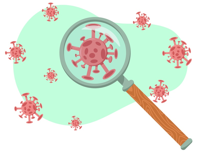 Search for a virus. Viruses under a magnifying glass health glass flu find fever epidemic disease dimensional dangerous covid19 covid-19 covid coronavirus corona contamination concept biotechnology biology biohazard bacterium