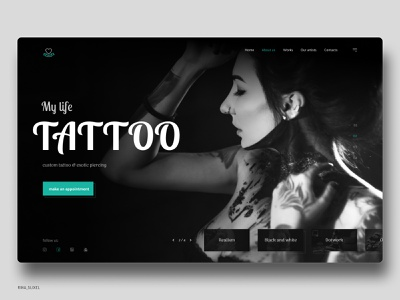 Tattoo studio - Life Tattoo ui uidesigner website webdevelopment webdesigninspiration webdesigning webdesignanddevelopment webdesign visualdesign uxdesigning userinterfacedesign userinterface uitrends uiinspiration uidesigns uidesign digitaldesign design tattoostudio tattoo