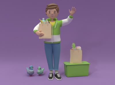 market character design illustration 3d