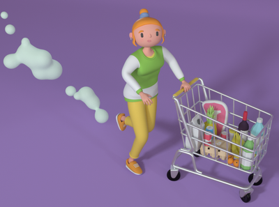 grocery design character illustration 3d