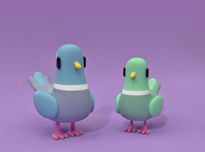 pigeons character design illustration 3d