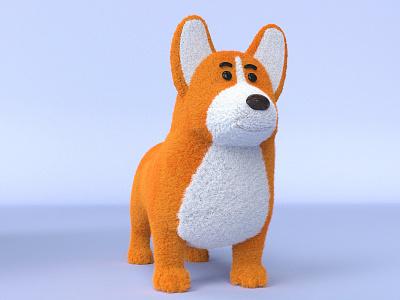 Corgi commercial illustraion cinema4d octane character design illustration 3d