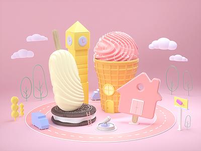 Ice cream town cg summer ice cream branding illustraion cinema4d octane character design 3d illustration