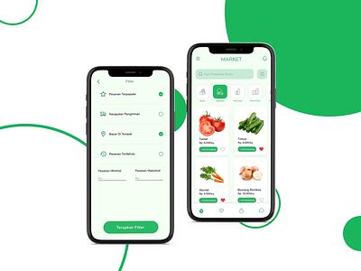 GreenGrocery Market Mobile App simple design minimal ui figma