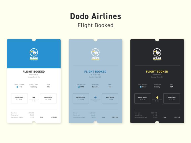 DailyUI #17 - Dodo Airlines Flight Booking Receipt