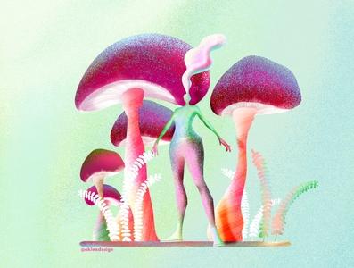 Still standing in mushrooms flatdesign mushroom procreate procreatebrushes texture flat character