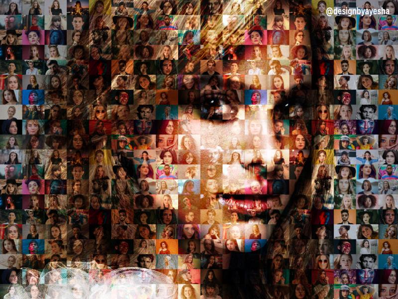Mosaic Portrait portrait mosaic effect practice beginner photoshop graphics graphicdesign designer designbyayesha design