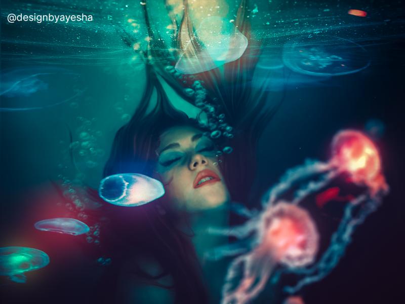 Underwater World drown ccol bubbles level filter glowing lightning underwater jellyfish girl world amazing effect practice photoshop graphics graphicdesign designer designbyayesha design