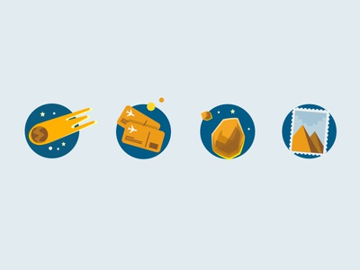 Icons for Quiz Game sketch vector objects ui design comet space illustrations icons game quiz