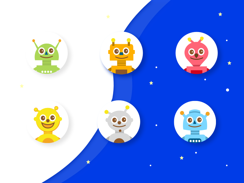 Robots for game app ui space robots minimalist illustrator illustrations icons gameui game character app