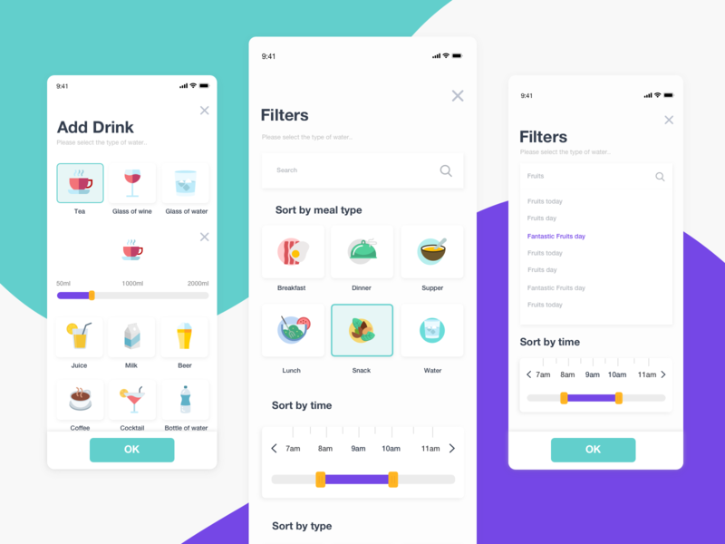 Filters ux/ui fitness sorting icons dribbble shot illustration sketch mobile ux ui ios filters purple green layout design clean app