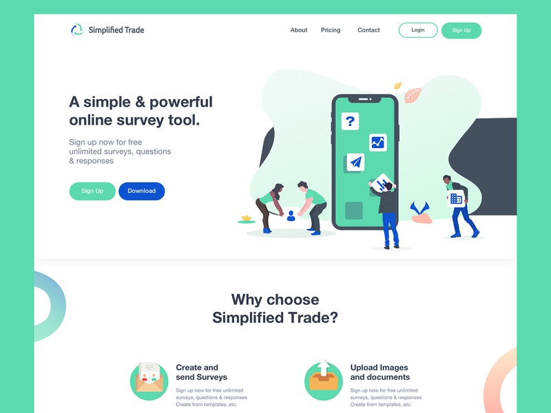 Home page for Simplified Trade green icons saas app surveys uxiu ui deisgn ux design ladningpage sketch vector shot design logo illustration homepage