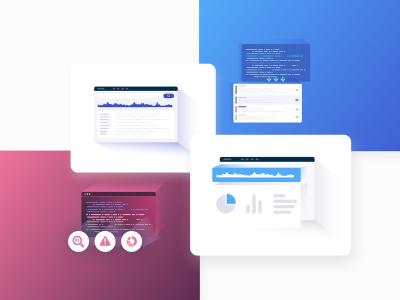 Data Illustrations website web screens webdesign vector ux ui sketch shot processing isometric illustraion icons data analysis data bigdata artificial intelligence
