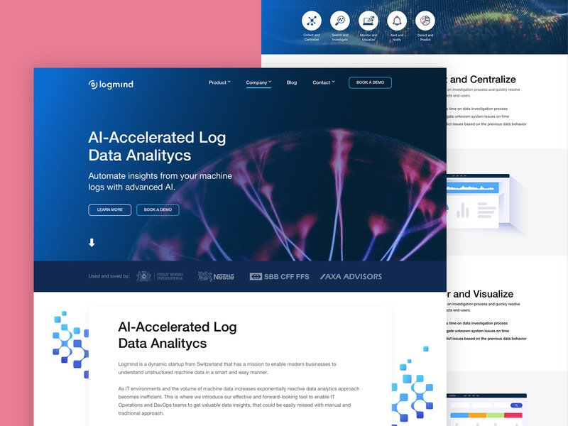 Design for Logmind analytics website landingpage webdesign vector ux ui sketch shot processing isometric illustraion icons data analysis data bigdata artificial intelligence