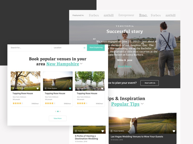 Wedding planner, search venues and vendors. booking minimalism sketch branding vector app venues vendors platform ux ui webdesign couples wedding redesign