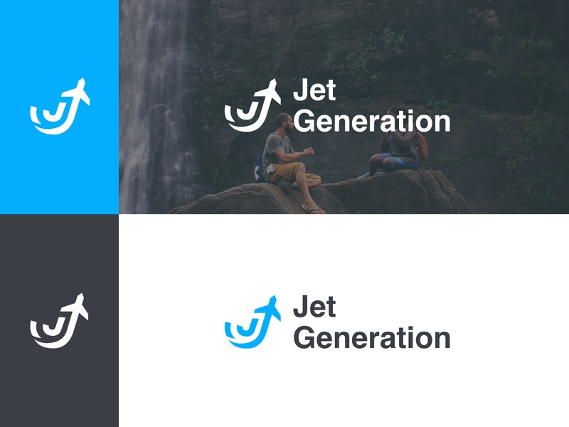 Jet Generation logo shot web design flat logotype generation jet airplane travel icon logo illustration vector icons sketch branding typography design ui