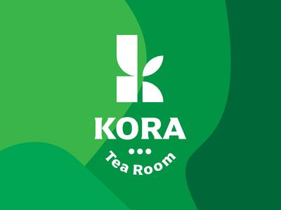 KORA Tea Room leaf logo tea logo kora room tea vegan leaf green vector illustration monogram design branding negative space bold logo design logo