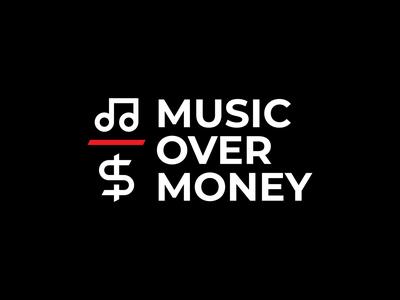 Music Over Money music label clean over red note dollar music money typography minimal vector illustration design branding negative space bold logo design logo