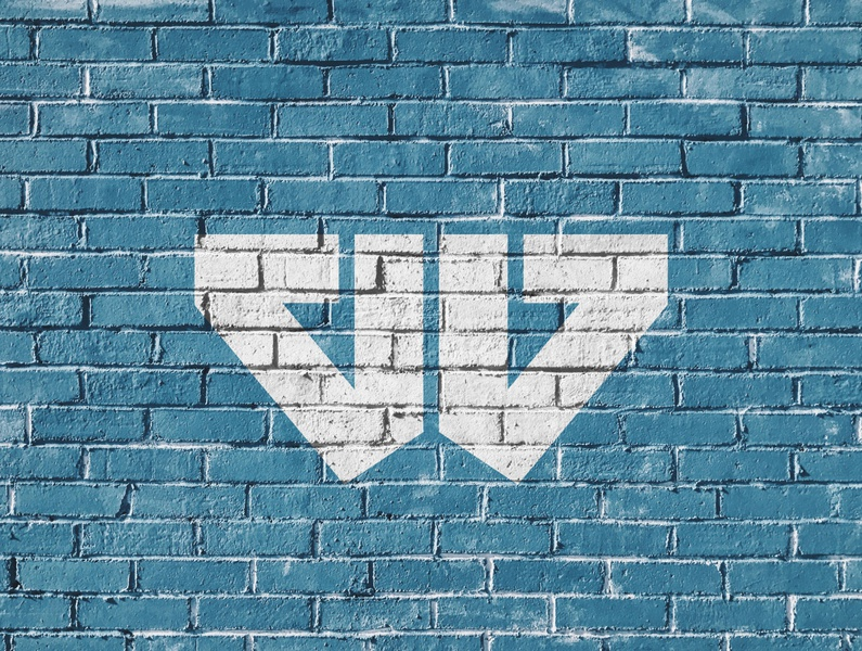 W Mark [Circa 2015] blue brick texture wall minimal monogram illustration vector negative space design branding bold logo design logo
