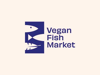 Vegan Fish Market illustration negative space branding market plant based animal logo blue logotype logo logo design fish logo fish vegan