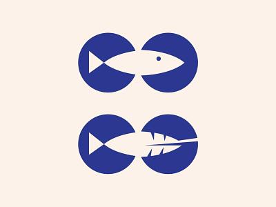Vegan Fish Market Icons icons branding and identity plant based plant shopping market fish vegan brand design branding vector illustration leaf design bold animal negative space blue logo design logo