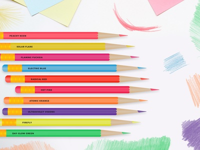 Neon Color Pencils Vector Designs