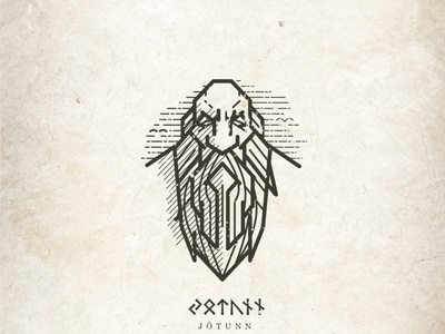Jotunn mythology giant folklore linework logo