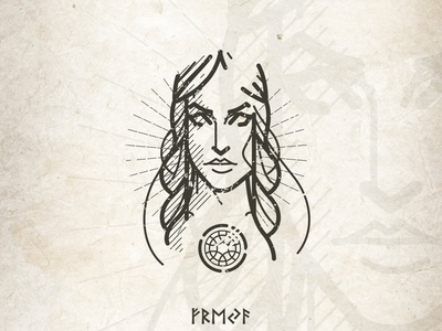 Freya woman mythology viking goddess folklore linework logo