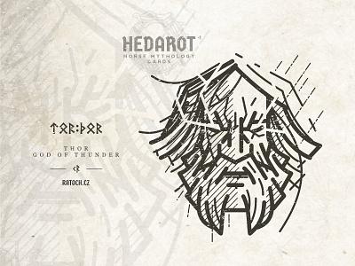Thor: god of thunder mythology viking thunderbolt thor god folklore linework logo