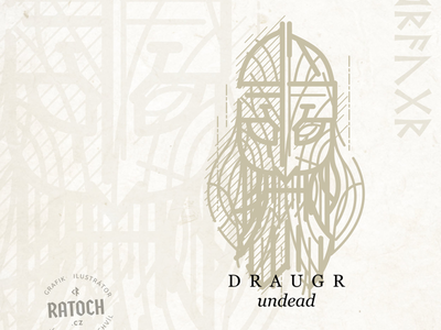 Draugr engraving logo undead skeleton mythology