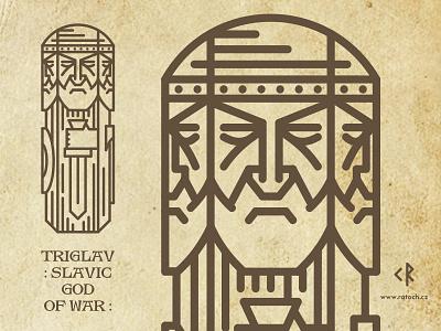 Triglav folklore pagan lineart linework slavic god