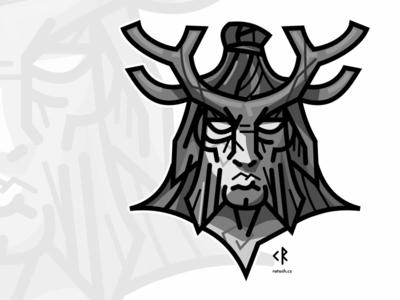 Forrest god vector illustration logo linework dark antlers god forrest celtic cernunnos