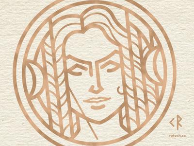 Devana Goddess linework logo illustation artemis diana devana goddess folklore slavic