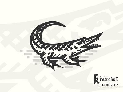Crododile in medieval woodcut style reptile medieval illustraion logo crocodile