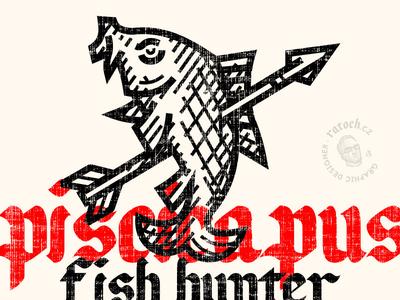 fish hunter logo linework logo woodcut illustration hunter carp fishing logo fish