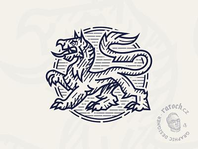 Heraldic tiger lineart tiger heraldic heraldry