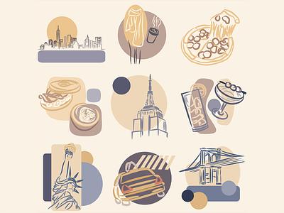 New York Icons abstract iconography travel new york icon set icons icon vectorart vector illustration art minimal logo illustration