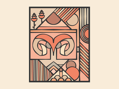 Aries monochrome geometric pattern ram deer pink comic monolinear monoline layout design illustration illustrator art vector abstract symbol sign zodiac aries