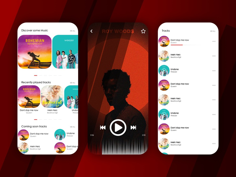 Music Player Application minimal web website vector app ui ux logo branding design