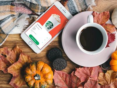 Starbucks Pumpkin Latte app web flat website ui ux illustration minimal branding design