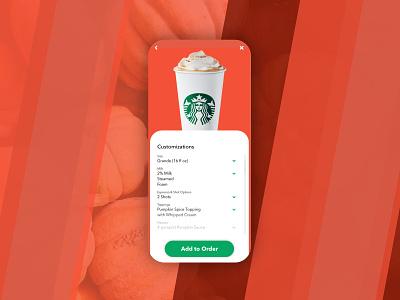Starbucks Pumpkin Latte branding app ux ui web minimal design